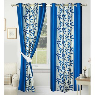 Geonature Blue polyster Eyelet Window Curtains Set Of 3 Size 4X5 (G3CR5F-73)