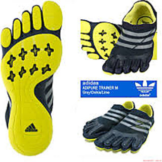 (Adipure) Five Finger Unisex Teo Shoes (grey n yellow)