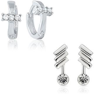 Mahi Combo of Chic Bali Hoop Stud Earrings for Women CO1104420R