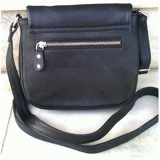 Sarso Leather Unisex Crossbody Bag  Black