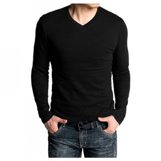 Buy Black V-Neck Full Sleeve T-Shirt For Mens Online   ₹1250 from ... 6dba149faf3f
