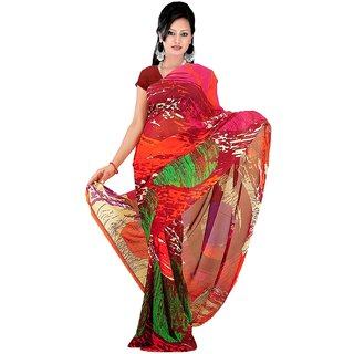 Subhash Daily Wear Multicolor Color Chiffon Saree