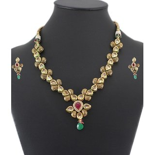 925 Silver Handmade Artificial Bridal Necklace Jewelry Set For Women