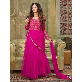 Thankar Dark Pink Embroidered Silky Net Anarkali Suit