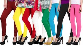 Pack of 8 Leggings - Maroon/Yellow/Red/White/Green/Turquoise/Black/Magenta