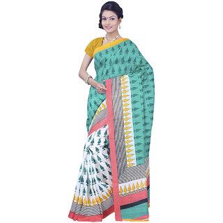 SuratTex Blue Bhagalpuri Silk Printed Saree With Blouse