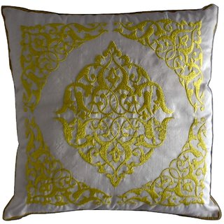 White Embroidered poly cotton cushion cover