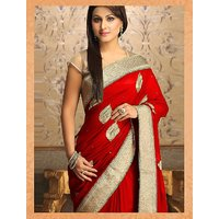 Thankar Online Trading Red Georgette Embroidered Saree With Blouse