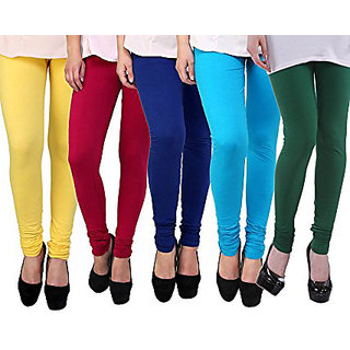 Pack of 5 Leggings - Yellow, Red, Blue, Turquoise n Green