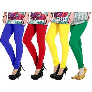 Aashish Fabrics Multicolor Viscose Plain Leggings For Women (Pack Of 4)