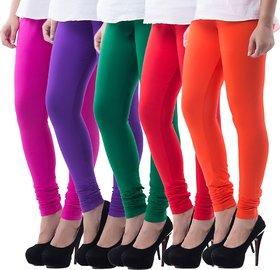 KriSo Fabrics Multicolor Viscose Leggings (Pack of 5)