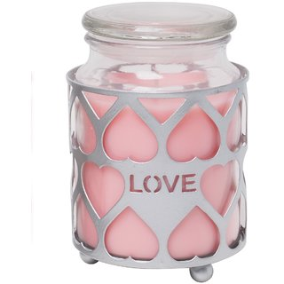 Hosley Highly Fragranced 18OZ Jar Candle with Decorative Silver Heart Shape Metal Sleeve
