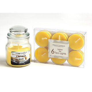 Hosley Lemon Bar Highly Fragranced Jar Candle with Pack of 6 Scented Tealights