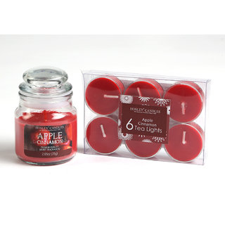 Hosley Apple Cinnamon Highly Fragranced Jar Candle with Pack of 6 Scented Tealights