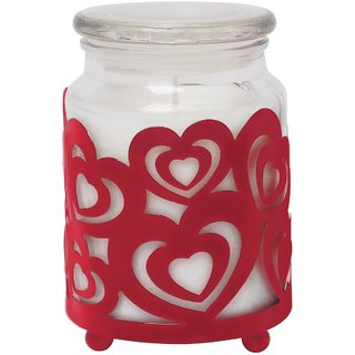 Hosley Highly Fragranced 18OZ Jar Candle with Decorative Red Heart Shape Metal Sleeve
