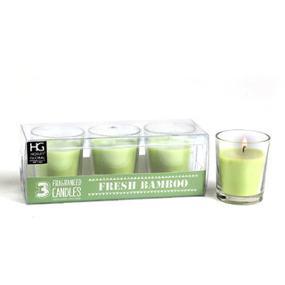 Set of 3 Hosley Highly Fragranced Fresh Bamboo Filled Glass Candles