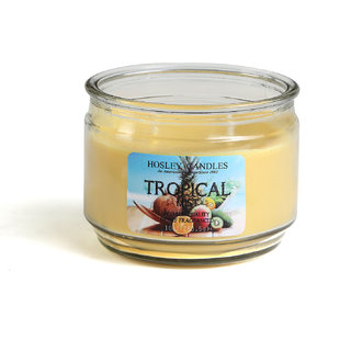 Hosley Tropical Mist, Highly Fragranced, 2 Wick, 10 Oz wax, Jar Candle