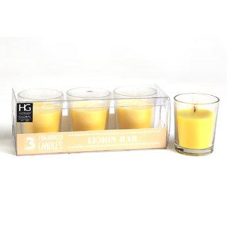 Set of 3 Hosley Highly Fragranced Lemon Bar Filled Glass Candles