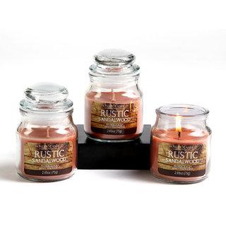 Set of 3 Hosley Rustic Sandalwood Highly Fragranced Jar Candles