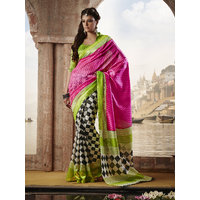 Fashion Indiana Multicolor Linen Self Design Saree With Blouse