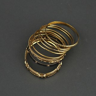 Gold-Plated Metal Bangles Set For Women