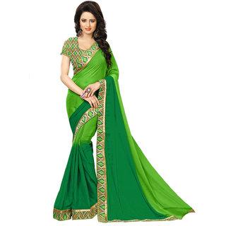 Aesha Green Chiffon Self Design Saree With Blouse