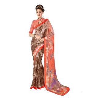 Aesha Multicolor Crepe Self Design Saree With Blouse