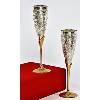 Unique Royal Gold Plated Olive Carving Champagne Flute 2 Glasses set