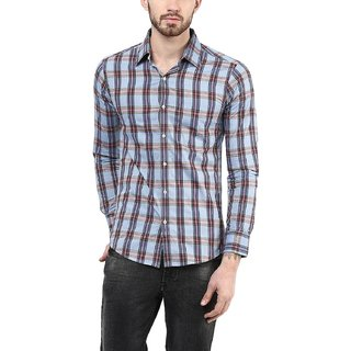 American Crew Mens Full Sleeve Checks Shirt With Pocket