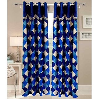 Deepansi Handloom Blue Check Self Designer Long Door Curtain(set of 2)