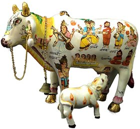 Vivx White Resin Kamdhenu Cow With Calf Idol