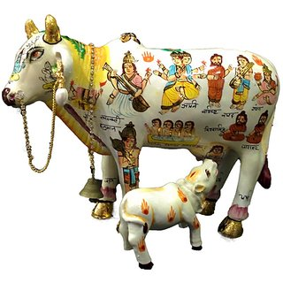 Vivx White Resin Kamdhenu Cow With Calf Idol
