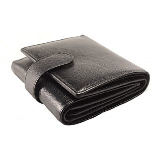 iMEX Black Trifold NDM Genuine Leather Wallet