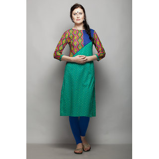 AAIRA 3/4 SLEEVES KURTI WITH PRINTED SLEEVES AND YOKE WITH CONTRAST DOBBY