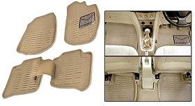 Hi Art 3D Beige Floor and Foot Mats for Toyota Etios Liva