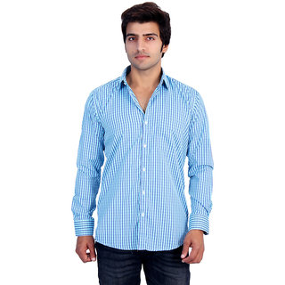 25th R Mens Blue Checks Cotton Blend Slim Fit Casual Shirts