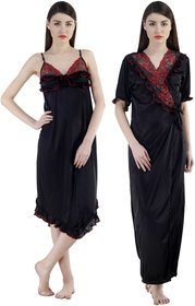 Fashion Zilla Black Satin Designer Floral Nighty With Gown Set