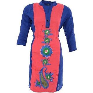 Jayanti Sarees Casual Embroidered Cotton  3/4 Sleeve Flared Womens Kurti