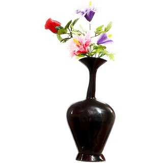 E-Handicrafts Black Aluminium Flower Vase