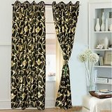 Beautiful Black Colour With Golden Flower Design Curtain (4x7ft)