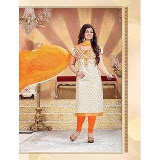Thankar Heavy White Cotton Salwar Kameez