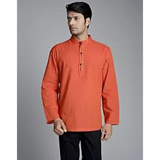 6f229e64b20 Buy Orange Short Cotton Kurta for men-Chinese Collar Online   ₹350 ...
