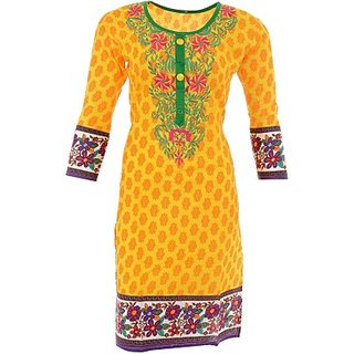 Jayanti Sarees Casual Printed Cotton bombay region Flared Womens Kurti