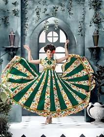 Thankar Banglori Silk And Bhagalpuri Print Green Anarkali Suit