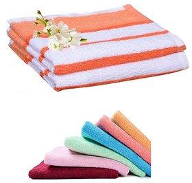 Iliv Cotton White,White,Orange Face Towels (6X9 Inch) Combo Of 4