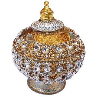 Traditional Handmade Kumkum/Sindoor Box-Yellow Color
