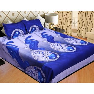 EXHOME Beautiful Printed Double Bed Sheet With 2 Pillow Covers.NE940