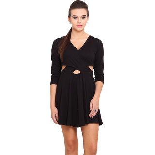 Anaphora Black Plain A Line Dress For Women