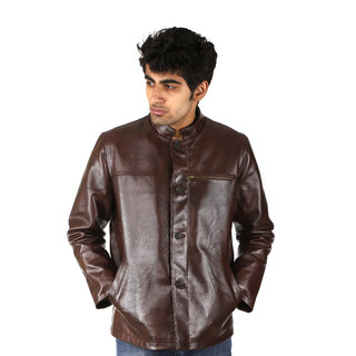 Shagoon Emporium Cow Bumber Brown Regular Fit Leather Jacket