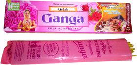 Ganga Pink Incense Sticks  Dhoop - Pack Of 12